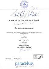 Zertifikat Schmerzakupunktur Dr. Martin Hoßfeld Aachen