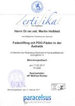 Zertifikat Fadenlifting mit PDO-Fäden Dr. Martin Hoßfeld Aachen