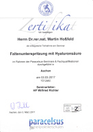 Zertifikat Faltenunterspritzung mit Hyaluronsäure Heilpraktiker Dr. Martin Hoßfeld Aachen Herzogenrath