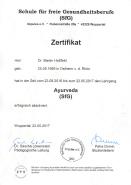 Zertifikat Ayurveda Dr. Martin Hoßfeld
