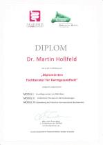 Zertifikat Dr. Martin Hoßfeld Darmberater DeProm /  Institut Allergosan (Graz)